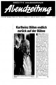 Abendzeitung Karlheinz Böhm - Prinzregententheater