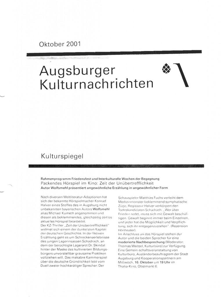 Augsburger Kulturnachrichten Zeit der Unübertrefflichkeit