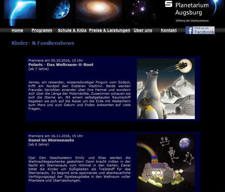 Danei Planetarium Augsburg Ankündigung