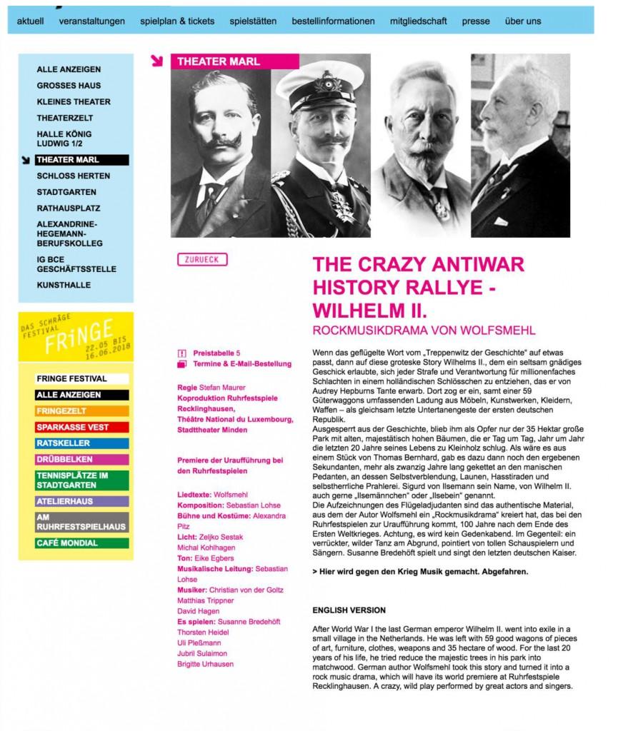 Ankündigung Ruhrfestspiele & English Version