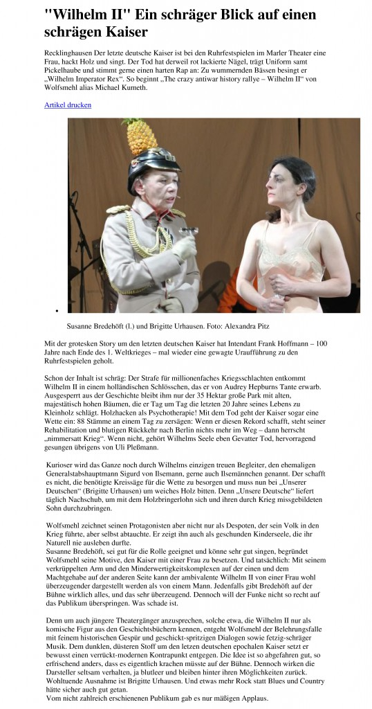 Ruhrfestspiele - Wilhelm II - Kritik Zeitung Marl 18.05.18